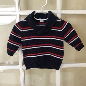 Janie & Jack Sweater Cowl Neck Navy, Red, White